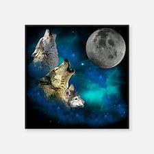 "New Wolfs family moon 2 BG Square Sticker 3"" x 3"""