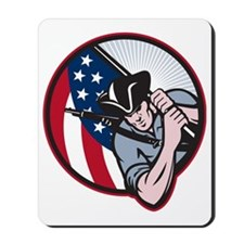 American Patriot Minuteman With Flag Mousepad