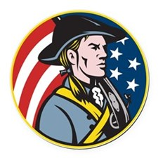 American Patriot Minuteman With F Round Car Magnet