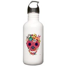 skull flowers by wam Water Bottle