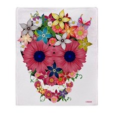 skull flowers by wam Throw Blanket