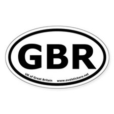 """Great Britain """"GBR"""" Oval Car Decal"""