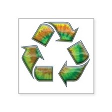 "recycle-tie-dye-T Square Sticker 3"" x 3"""