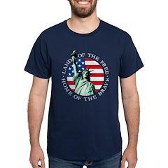 Liberty & American flag T-Shirt (click for colors)
