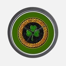 CELTIC-SHAMROCK-3-INCH-BUTTON Wall Clock