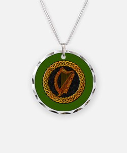 CELTIC-HARP-3-INCH-BUTTON Necklace