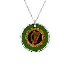 CELTIC-HARP-3-INCH-BUTTON Necklace Circle Charm