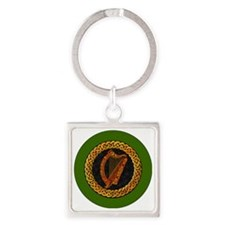 CELTIC-HARP-3-INCH-BUTTON Square Keychain