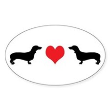 Dachshunds & Heart Oval Decal