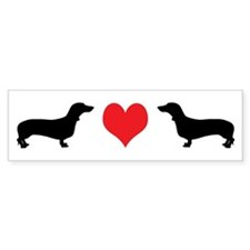 Dachshunds & Heart Bumper Bumper Sticker