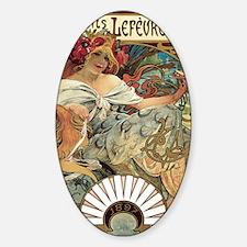 Alphonse Mucha Biscuits Lefevre Uti Sticker (Oval)