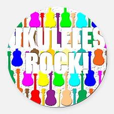ukulele rocks uke ukuleles ukes Round Car Magnet