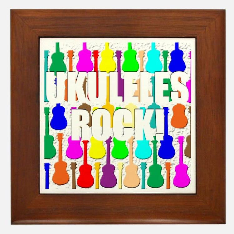 ukulele rocks uke ukuleles ukes Framed Tile