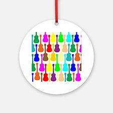 rainbow ukulele ukes Round Ornament