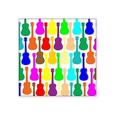 """rainbow ukulele ukes Square Sticker 3"""" x 3"""""""