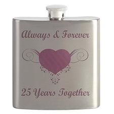 25th Anniversary Heart Flask