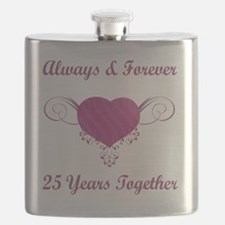 25th Anniversary Heart Flask