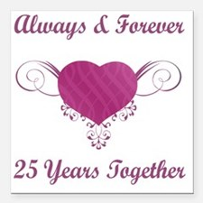 "25th Anniversary Heart Square Car Magnet 3"" x 3"""