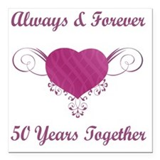 "50th Anniversary Heart Square Car Magnet 3"" x 3"""