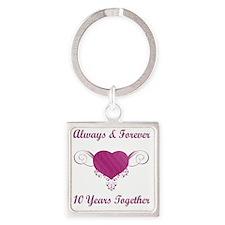 10th Anniversary Heart Square Keychain