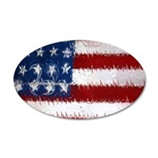 Patrotic USA  flag  note car 35x21 Oval Wall Decal