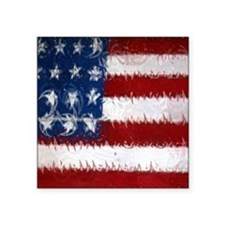 "Patrotic USA  flag  note ca Square Sticker 3"" x 3"""