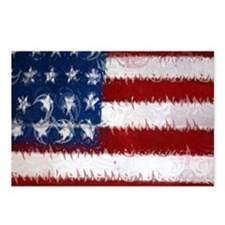 Patrotic USA  flag  note  Postcards (Package of 8)
