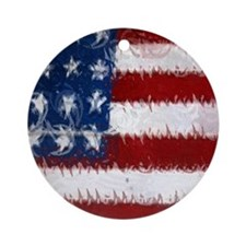 Patrotic USA  flag  note card Round Ornament