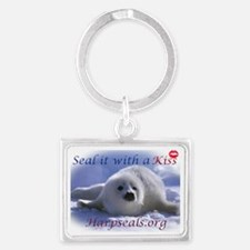 seal-kiss2b Landscape Keychain