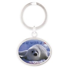 seal-kiss2b Oval Keychain