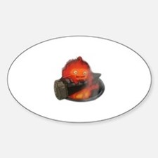 Calcifer on a log Oval Decal