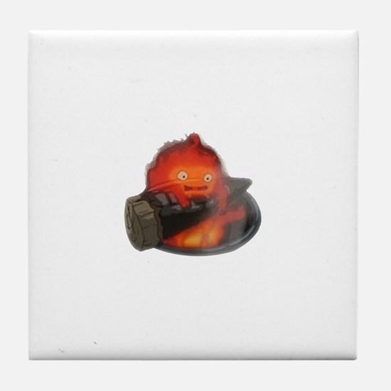 Calcifer on a log Tile Coaster
