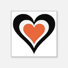 """Blk wht orange love Square Sticker 3"""" x 3"""""""