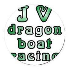 I Love Dragon Boat Racing Round Car Magnet