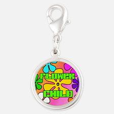 FLOWER-CHILD-1x1_button Silver Round Charm