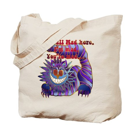 Mad Cheshire Cat Gold Tote Bag
