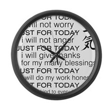 JUST FOR TODAY BLACK Large Wall Clock
