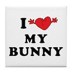 I Love My Bunny Tile Coaster