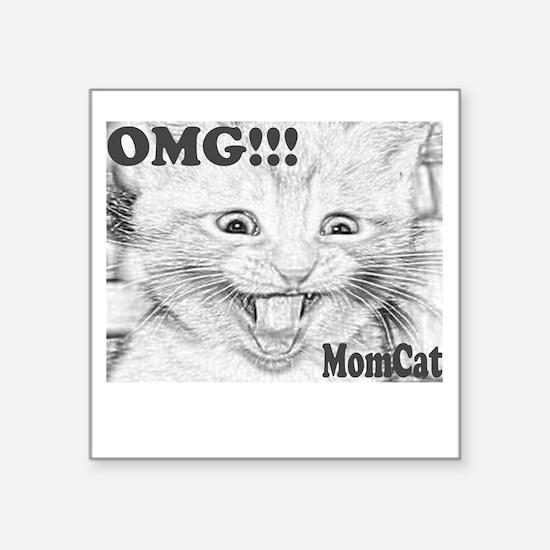 """ScreamingMomcatGrey Square Sticker 3"""" x 3"""""""