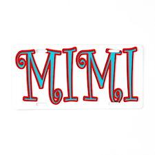 MIMI CURLZ RED AND AQUA Aluminum License Plate