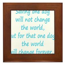 Save dog aqua Framed Tile