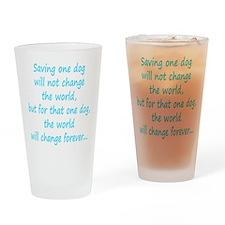Save dog aqua Drinking Glass
