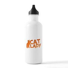 CAT LADY cute puss cat slinky Sports Water Bottle