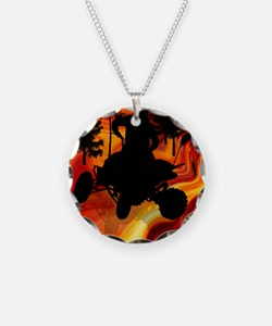 ATV on Road From Hell Twin D Necklace