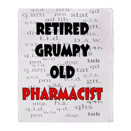 retired grumpy old pharmacist red Throw Blanket