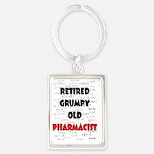 retired grumpy old pharmacist re Portrait Keychain
