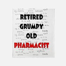 retired grumpy old pharmacist red Throw Blanket