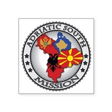 "Adriatic South LDS Mission  Square Sticker 3"" x 3"""