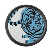 tiger blue Large Wall Clock