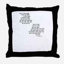 rues lullaby black and white for blac Throw Pillow